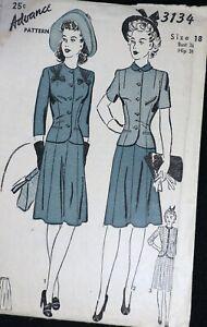Vtg 1940s Advance 3134 Banded Ribbon Trim Suit Dress SEWING PATTERN 18