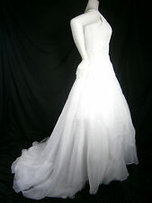DAVID'S BRIDAL OLEG CASSINI 10 WEDDING GOWN WHITE PEARLS LACE OFF SHOULDER