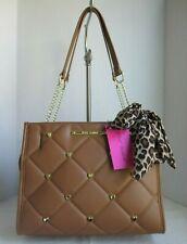 Betsey Johnson Cognac Quilted Satchel Bag Handbag Purse