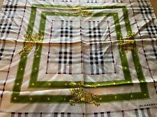 Authentic Burberry Nova Check Green Buckle Strap Silk Scarf Shawl