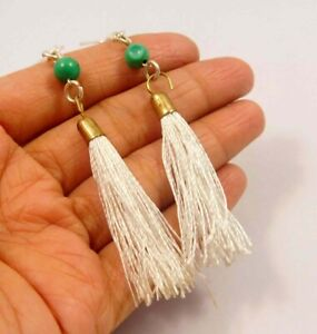 Turquoise With White Tassel Silver Plated Handmade Earring Jewelry C16