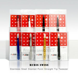 Rubis Swiss Stainless Steel Slanted Point Straight Tip Tweezer *Chose any one*
