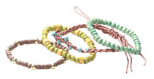 4 Multi- Pack Blue,Green & Brown Beads/braided One Size Fits All Bracelet(Zx219)