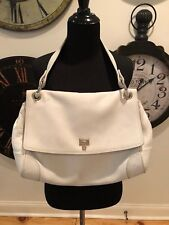 LAMBERTSON TRUEX-WHITE LEATHER SHOULDER BAG, SOFT LEATHER