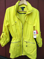 Style & co Yellow Polyester Parka style lined Wind Breaker, Hooded Rain Coat NEW