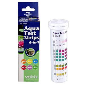 Velda Aqua Test Strips 6-in-1 Pond Water Testing Kit GH/KH/NO2/NO3/Cl2/pH Fish
