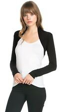 Women Rayon Solid long Sleeve Bolero Shrug Cropped Cardigan Vest Sweater Jacket