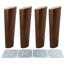 4Pieces 18cm Height Oblique Tapered Wood Furniture Legs Walnut Color