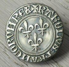 BOTÓN ANTIGUO botón LIBREA Citación flor DE lys,la cruz del Bretaña
