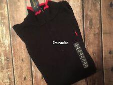 Ralph Lauren Polo Boys Ribbed Black Red PONY 1/4 Zip Sweater XL 18/20