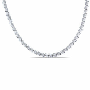 Sterling Silver 1/2 CT TW Diamond Tennis Necklace by Amour