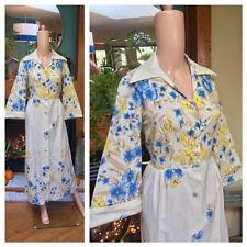 Vintage Sears Hostess Snap Front Flower 70s Bell Sleeve Maxi Boho Dress M