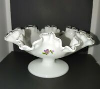 """Fenton Silver Crest Violets in the Snow 4"""" Footed Compote Bowl unsigned/unmarked"""