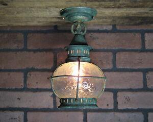"""Vintage Antique 1920s Copper Porch Ceiling Light Cottage Bungalow Restored 11"""" T"""