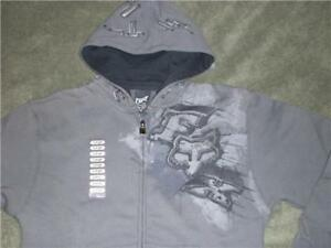 FOX RACING GRAY PRESTO GRAPHIC HOODED SWEATSHIRT YOUTH LARGE(14/16) NWT