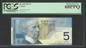 Canada 5 Dollars 2002 BC-62b Uncirculated Graded 68