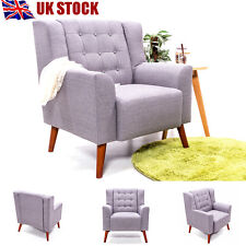 Modern Linen Fabric Tub Chair Armchair Sofa for Living Dining Room Office Grey