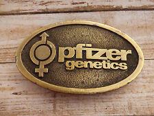Pfizer Genetics Hybrid Corn Soybeen Cotton Vintage Brass Belt Buckle