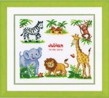 Stickpackung Stickbild sticken 27x23 cm Tiere Safari Baby Geburt Löwe Affe Zebra