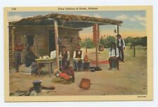 Linen Postcard Pima Indians at Home Arizona