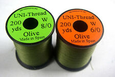 1 x 200 yards Fil montage OLIVE 6-0/8-0 peche mouche fly tying thread mosca
