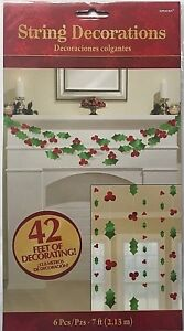6 x 7ft Christmas Holly And Berries Hanging String Decorations Party XMAS