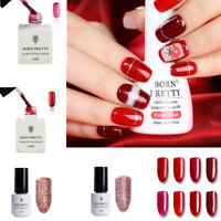 Glitter Red UV Gel Nail Polish Soak Off LED Shimmer Shiny  Nails Salon