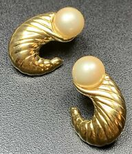 1� Gold Tone Faux Pearls Signed Trifari Vintage Clip Earrings