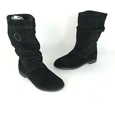 Toms Womens Size 6 Serra Perforated Black Suede Boot New