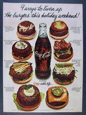 1978 Coke Coca-Cola bottle & 8 hamburgers burger toppings photo vintage print Ad