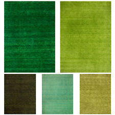 Morgenland Gabbeh Carpet Plain Solid Colour Greens Hand Woven Cuddly Soft