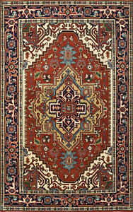 Tribal Heriz Serapi Rug, 5'x8', Rust/Blue, Hand-Knotted Wool Pile