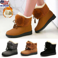 Womens Ladies Winter Warm Fur Lined Ankle Snow Boots Slip On Outdoor Boots Shoes