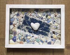 Vintage Beach Pottery Heart Pebble Mosaic Original Handmade Beachcomber Artwork