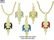 Hip Hop Jewelry Micro Pave Angel Pendant Brand New with 4 mm Rope Necklace #6570