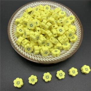 30pcs/Lot 10mm Smile-face Polymer Clay Spacer Beads For Handmade Jewelry Making