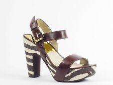 Michael Kors Ivana Sandal Womens Size 7.5 Brown Leather Platforms Sandals Shoes