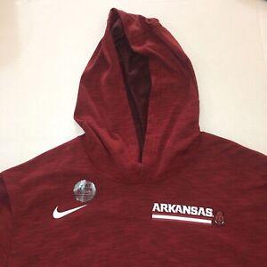 NEW Nike Arkansas Razorbacks 2XL Hooded Long Sleeve T-Shirt Football Dri-FIT