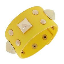 Yellow Leather Rose Gold-Tone Spikes Wide Wristband Wrap Womens Bracelet