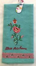"""April Cornell Rose Embroidered Teal Tea Towel, """"Bless This Home�, 19� x 27�, Nwt"""