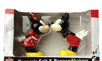 DISNEY KISSING MINNIE AND MICKEY MOUSE CERAMIC SALT AND PEPPER SHAKERS