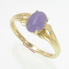 14k Yellow Gold Setting A 5 X 7mm Cabochon Oval Lavender Solitaire Jade Ring TPJ