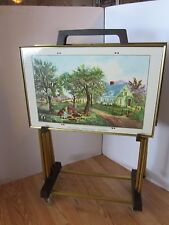 TV trays & cart Set Currier & Ives American Homestead 4 pieces Atomic bullet