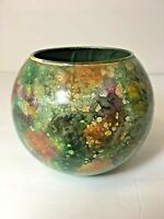 French Painted Art Glass Bowl Made In France Multicolor Glitter