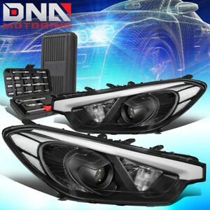 FOR 2014-2016 FORTE 5 KOUP BLACK CLEAR SIGNAL PROJECTOR HEADLIGHT LAMPS+TOOLS