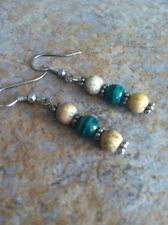 Sterling Silver Desert Southwest Malachite Stone Drop Earrings