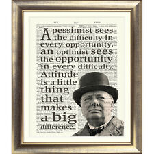 ART PRINT ON  ANTIQUE DICTIONARY PAGE Sir Winston Churchill Quote Typographic