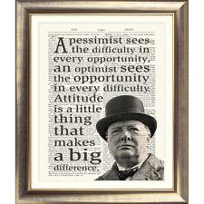 Art print on Antico dizionario pagina Sir Winston Churchill preventivo TIPOGRAFICO