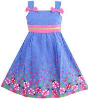 Kids Girls Dress Blue Bug Pink Dot Children Clothing Age 2-8 Sunny Fashion