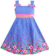Kids Girls Dress Blue Bug Pink Dot Children Clothing Size 2-8 Sunny Fashion
